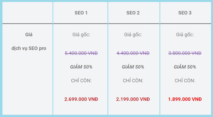 bảng giá dói dịch vụ seo pbn backlink